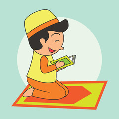 Muslims ready for reading a holy book (alQuran), Islamic concept for daily activity and Ramadan holy month, vector illustration