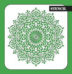Stencil. Mandala. Round Ornament Pattern. Ethnic decorative background. Islam, Arabic, Indian, ottoman motifs. My be used for laser cutting or die cutting machines.