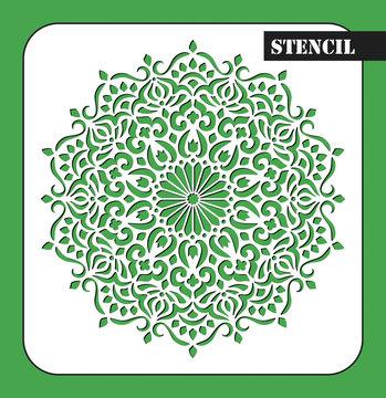 Stencil. Mandala. Round Ornament Pattern. Ethnic decorative background. Islam, Arabic, Indian, ottoman motifs. My be used for laser cutting or die cutting machines.