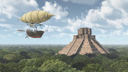 Fantasie Luftschiff und Maya Tempel
