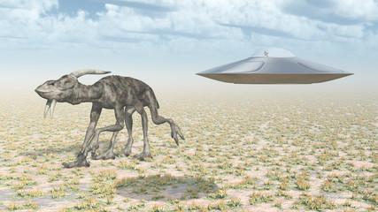 Fliegende Untertasse und außerirdische Kreatur