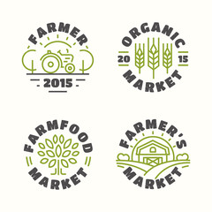Organic and farm food market emblem set color line style for farming, natural product firm