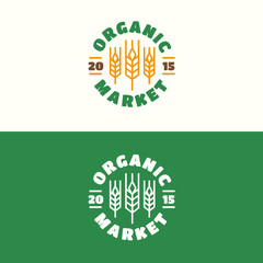 Organic market emblem set with wheat color line style for natural product company