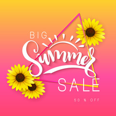 vector illustration of sale banner with hand lettering text, triangle frame and sunflower flowers