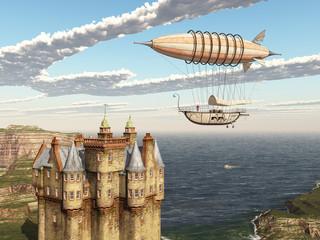 Fantasie Luftschiff und schottisches Schloss