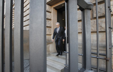 German state-owned rail operator Deutsche Bahn CEO Grube leaves after news conference in Berlin