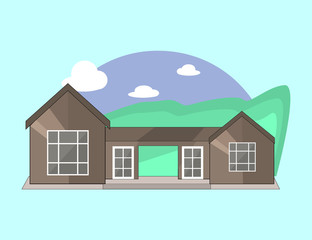 Mountain Side Summer Landscape With House, Trees and Clouds  in Flat Design.