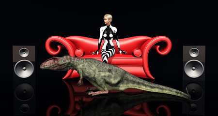 Frau auf rotem Sofa und der Dinosaurier Giganotosaurus