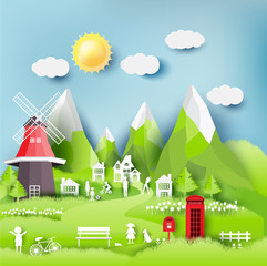 Green eco city and life paper art style, urban landscape and industrial factory buildings concept.vector illustration