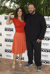 "Mexican actress Hayek and U.S. actor James pose during the launch of their film ""Here Comes the Boom"" in Cancun"