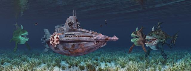 Fantasie Unterseeboot und Seemonster