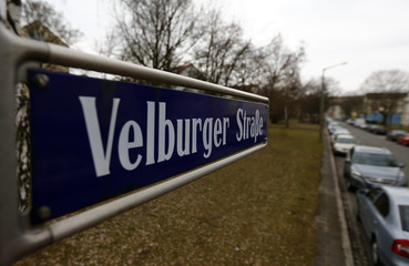 General view of the street sign Velburger Strasse in Nuremberg where NSU carried out one of their attacks