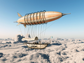 Fantasie Luftschiff über den Wolken