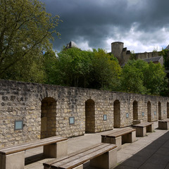 Old town of Luxembourg city. Castle in Luxembourg. Cloudy day in the city