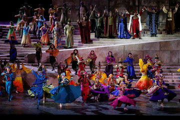 Dancers perform during a new theatrical production ÒSailing Through TimeÓ by The Caracalla Dance Theatre at the opening of Baalbeck International Festival, in Baalbek