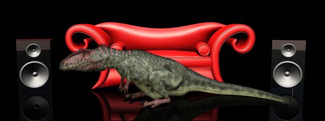 Rotes Sofa, Lautsprecherboxen und der Dinosaurier Giganotosaurus