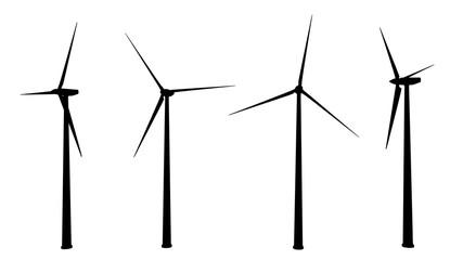 Silhouetten von Windturbinen