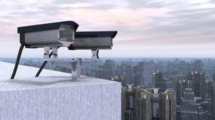 Überwachungskameras über einer Stadt