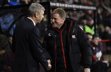 Arsenal manager Arsene Wenger and Bournemouth manager Eddie Howe before the match