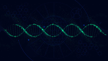 Futuristic illustration of the structure of DNA, Sci-Fi interface, vector background