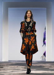 A model presents a creation from the Vera Wang Autumn/Winter 2013 collection during New York Fashion Week