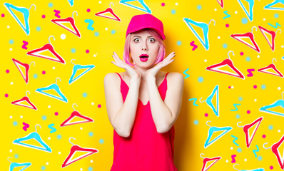 surprised young woman in cap
