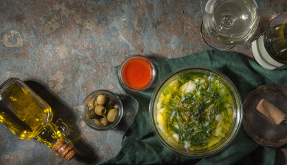 Portuguese soup Caldo Verde on the stone background horizontal