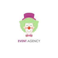 Smiling clown face line logo design template.
