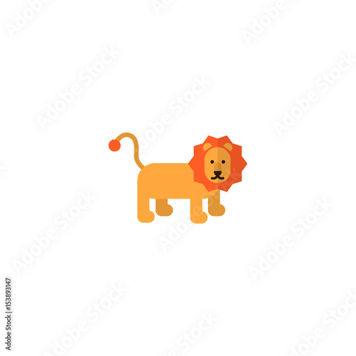 Flat Lion Element Vector Illustration Of Flat King Isolated On