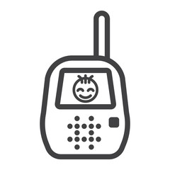 Baby monitor line icon, mobile and child control, vector graphics, a linear pattern on a white background, eps 10.