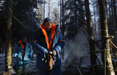 NASA astronaut Kelly and Russian cosmonaut Korniyenko  take part in a survival training exercise at Star City outside Moscow