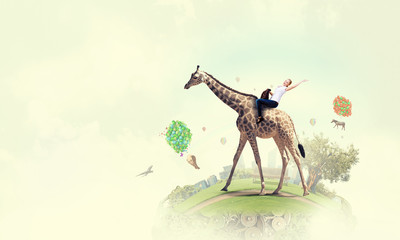 Wall Mural - Girl saddle giraffe . Mixed media . Mixed media