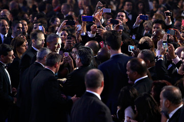 President Obama greets attendees after delivering remarks at event in Washington