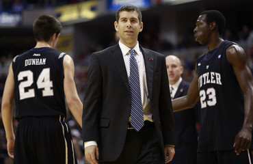Butler's Brad Stevens goes onto the court against Indiana during an NCAA basketball game in Indianapolis
