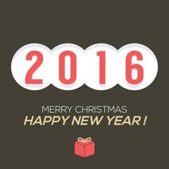 2016 Vintage New Year Card Vector Illustration