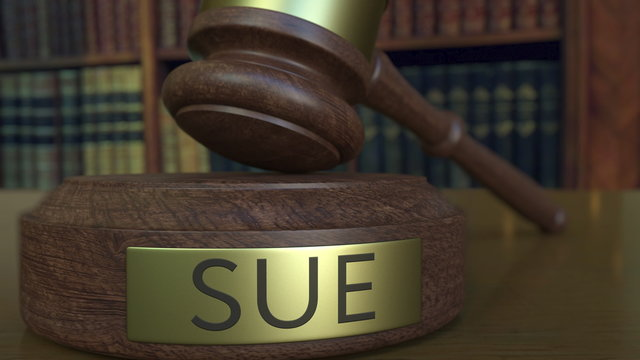 Judge's gavel hitting the block with SUE inscription. 3D rendering