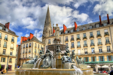 Fountain on the Place Royal in Nantes, France Fotomurales