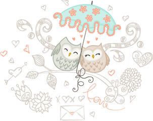 Loving couple of owls with umbrella