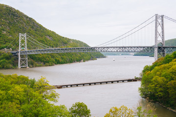 View of Bear Mountain Bridge and the Hudson River, at Bear Mountain State Park, New York.