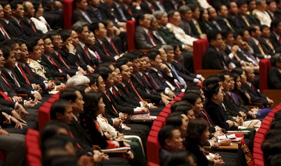 Delegates attend the opening ceremony of the 12th National Congress of Vietnam's Communist Party in Hanoi