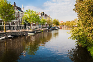 Channels, boats and buildings in central Amsterdam