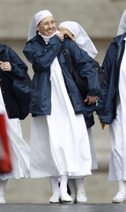 French nun Sister Marie Simon-Pierre Normand arrives for the beatification of Pope John Paul II at the Vatican