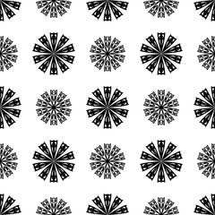 Floral monochrome background. Seamless black and white pattern