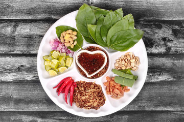 Leaf-Wrapped Bite-Size Appetizer, Miang Kum