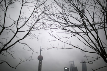 The Oriental Pearl Tower is seen through the haze in downtown Shanghai