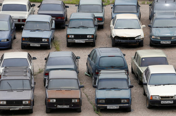 Cars are parked in a lot for cars whose drivers have violated driving rules in Moscow