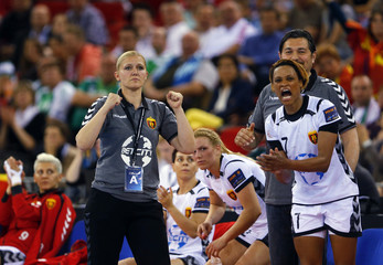 Macedonia's WHC Vardar SCBT head coach Katratovic reacts during the Women's Handball Champion's League Final Four bronze match in Budapest