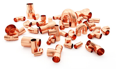 Copper fittings on white gradient background  - 3D illustration