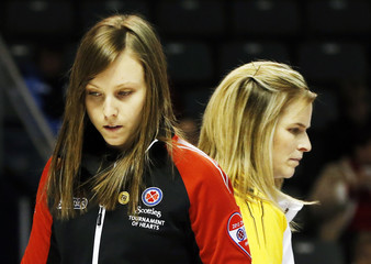 Ontario's Homan and Manitoba's Jones are pictured as their teams play each other during the twelfth draw at Scotties Tournament of Hearts curling championship in Kingston