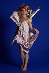 Woman in a paper dress